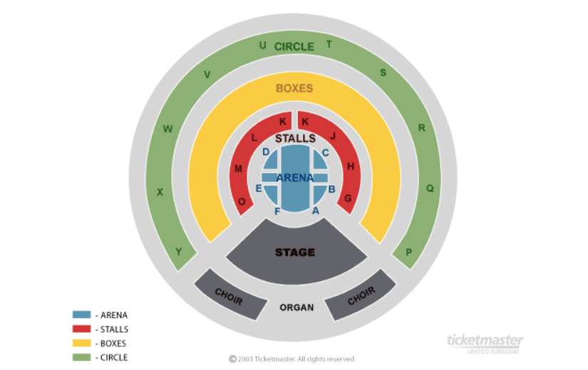 Tony Bennett (Sat Night Show!) Seating plan